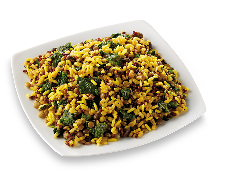 Rice salad with turmeric and black cabbage